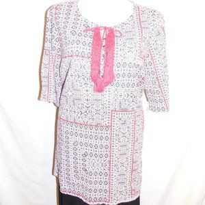 2X Catherines Blue Pink Lace Trim Tunic Top NWT